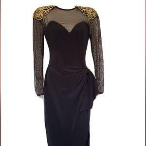 Vintage Betsy & Adam Black gold long Sleeve Sheer